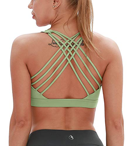 icyzone Sports Bras for Women - Activewear Strappy Padded Workout Yoga Tops Bra (S, Pastel Green)