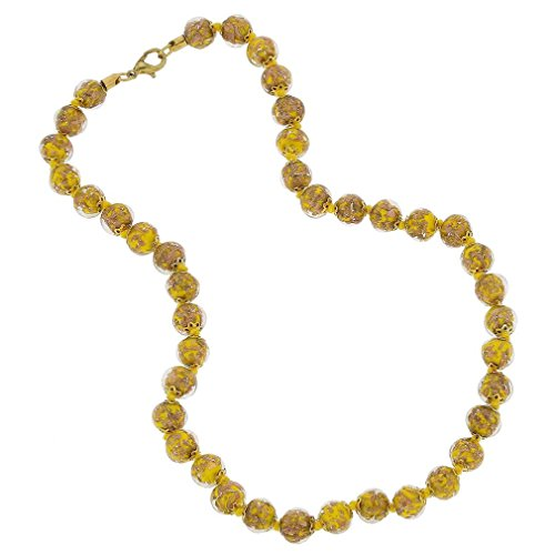 (GlassOfVenice Murano Glass Sommerso Necklace - Yellow)