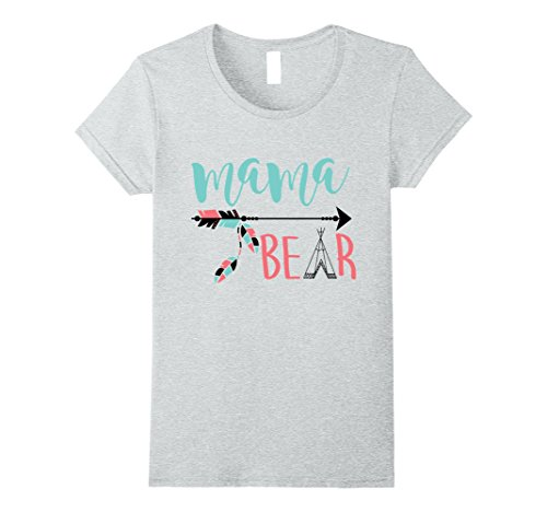 Cute Mom And Baby Costumes (Womens Mama Bear Funny Family Matching Shirts Cute New Mom Costume XL Heather Grey)