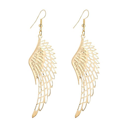 Gold Earrings Angel (IDB Productions IDB Delicate Filigree Dangle Angel Wing Drop Hook Earrings - available in silver and gold tones (Gold tone))