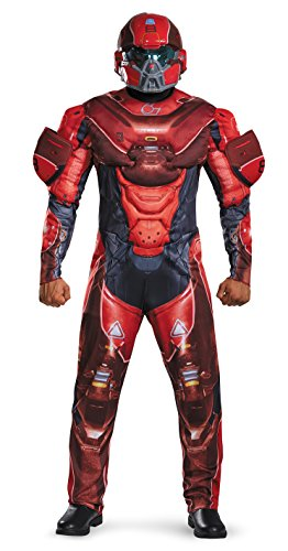 Disguise Men's Halo Spartan Muscle Costume, Red, (Spartan Costumes Halo)