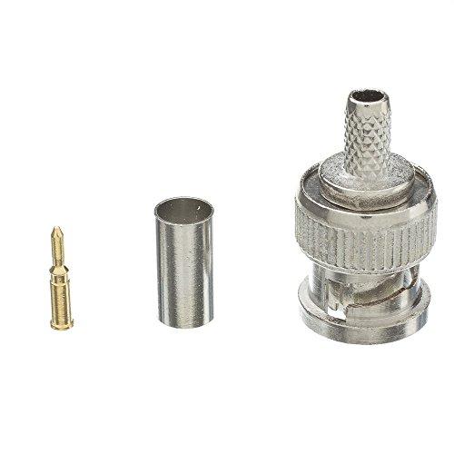ACL RG58 Solid Core BNC Male Crimp Connector (3 Pieces/Set), 10 Pack