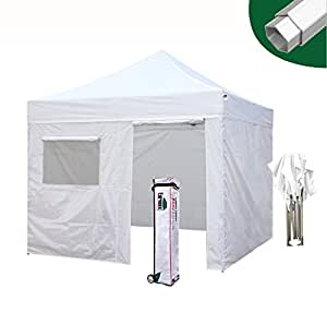 Eurmax Pro 10 x 10 Ez Pop up Canopy Party Tent High Commercial Grade Full Aluminum Frame with 4 Sidewalls Walls and Wheeled Storage Bag, 3 Sizes, 5 Colors Choose (White, 10 x 10)