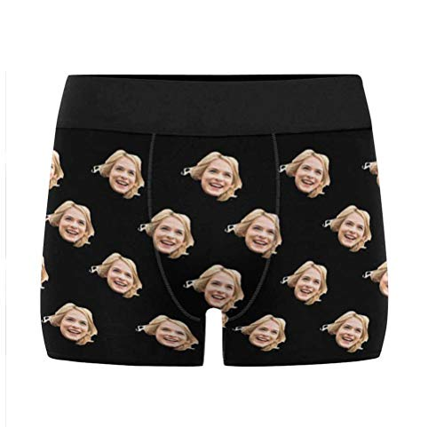 Custom Men's Funny Face Black Boxer Shorts Briefs Underpants Printed with Photo L
