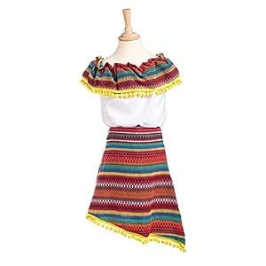 Disfraz de Mejicana Adriana para niña: Amazon.es: Juguetes y juegos