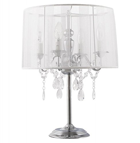 Casa Padrino baroque stool lamp with crystal deco, 4 flame, white, nostalgic table lamp, light lamp