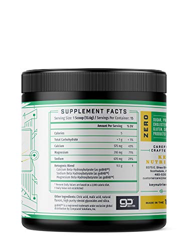 Exogenous Ketone Supplement, Key Keto Patented BHB Salts Beta-Hydroxybutyrate – Formulated for Ketosis, to Burn Fat, Increase Energy and Focus, Supports a Keto Diet. Lemon Lime Sherbet 15 Servings