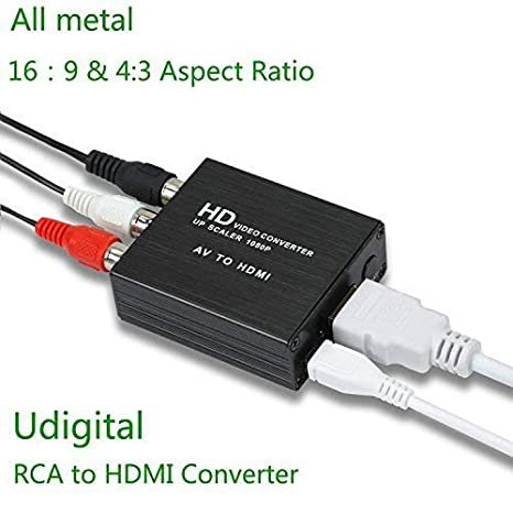 RCA to HDMI,Udigital Mini RCA AV to HDMI Audio Video Adapter Converter Could Change Aspect Ratio 16:9 and 4:3 for PC Laptop Xbox PS4 PS3 HDTV STB VHS VCR ...