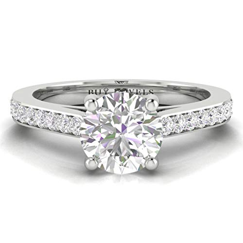 14k Gold Dainty 6.5mm 1ct DEW Solitaire Moissanite Diamond Accent Engagement Ring for Women 0.18ct - 0.18 Si Ct Diamond