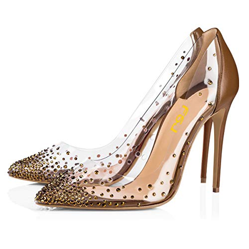 FSJ Women Studded Pointed Toe Transparent Pumps High Heels Shoes with Rhinestones Size 10 Brown-2 ()