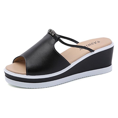 Jiyaru Women Wedge Sandal Peep Toe Platform Slippers High Heel Beach Shoes Black Et9t2