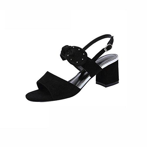 DALL Zapatos de tacón Ly-729 Punta Abierta Zapatos De Mujer Áspero Talón Negro Zapatos De Tacón Alto Sandalias Primavera Y Verano Alto 6.5cm (Color : Negro, Tamaño : EU 38/UK5.5/CN38) Negro
