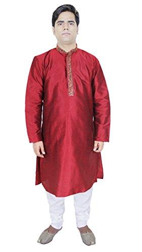 Mens Fashion Outfits Kurta Pajama Punjabi Indian Ethnic Kurta Red Size M ()