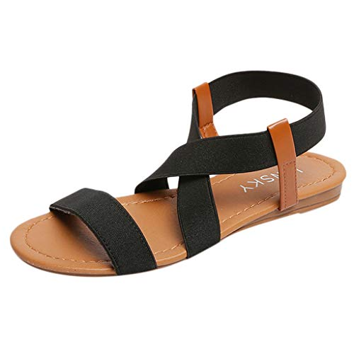 (MILIMIEYIK Slide Sandals Women Adjustable, Summer Women's Flat Cut Out Toe Buckle Roman Shoes)