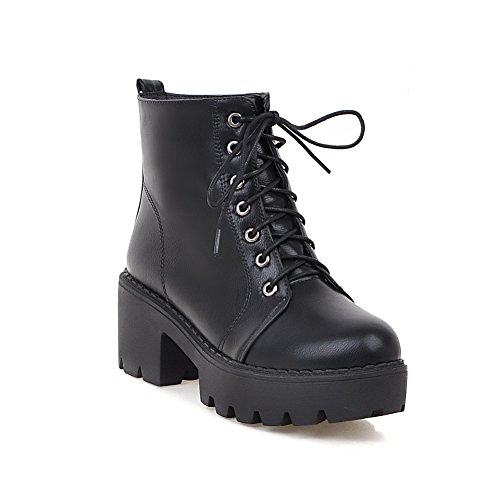 BalaMasa Womens Lace-Up Platform Solid High-Heel Mid-Top Urethane Boots ABL09702 Black cIIMjyz