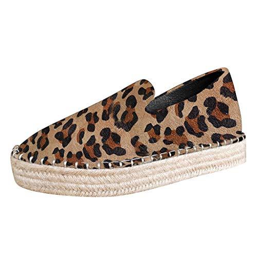Fashion Women Leopard Platform Espadrille Shoes (Yellow, 41)