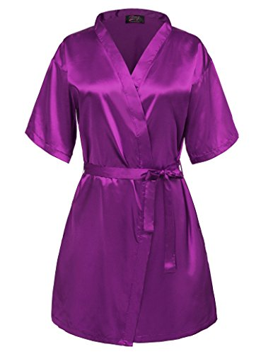 Women's Bridal Robe Pure Color Elegant and Soft Charmeuse Purple Size L -