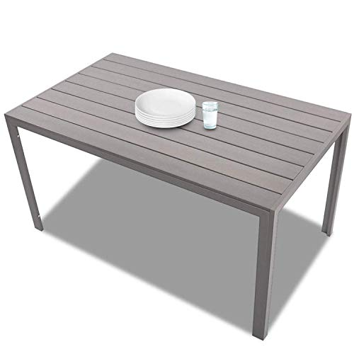 KARMAS PRODUCT Patio Dining Table Outdoor Aluminum Rectangle Table,All Weather Resistant,Size 55.1″L X 31.5″W X 28.3″H,Gray