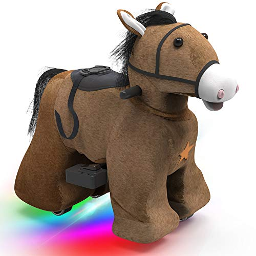 HOVER HEART Rechargeable 6V/7A Plush Animal Ride On Toy for Kids (3~7 Years Old) with Safety Belt (Horse)