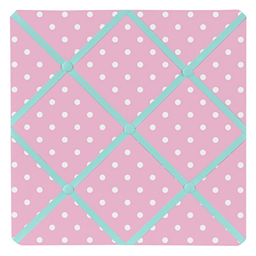 Sweet Jojo Designs Pink Polka Dot and Turquoise Skylar Fabric Memory/Memo Photo Bulletin Board