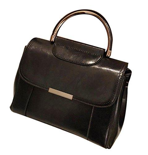 Hopeeye Woman Trends Tendance Sac à dos en peau de vache Sac à main Messenger Bag Cuir élégant (noir) 2-noir
