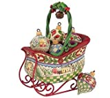 JIM SHORE CHRISTMAS SLEIGH WITH HANGING ORNAMENTS