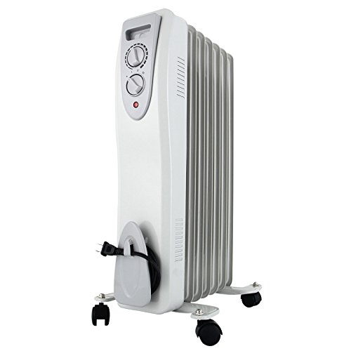 KUPPET YA400100 Electric Oil Filled Radiator Radiant Heater, Portable Radiant Space Heater For Home Room with Adjustable Thermostat, Auto Shut off, 6-Fin, 1500W, 3 Power Settings, White by KUPPET
