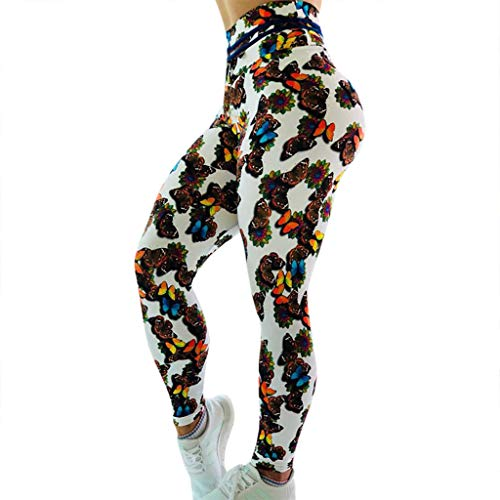 ☏☏ High Waist Yoga Pants with Multicolor Butterfly Printing, Tummy Control, Workout Pants for Women Stretch Yoga Leggings ❧❧❧ White