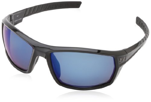 (Under Armour Ranger Shiny Black Frame, with Black Rubber and Storm (ANSI) Gray Polarized Blue Mirror Lens)