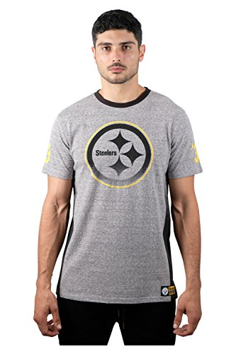 Pittsburgh Steelers Gridiron (NFL Men's Pittsburgh Steelers T-Shirt Vintage Ombre Short Sleeve Tee Shirt, Large, Gray)