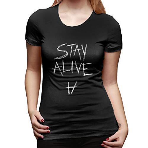 LingMs Women's Stay Alive Cozy T Shirts Black XXL