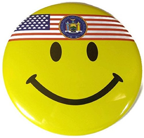 """Chic 4 in 1 Emoticon GREAT SEAL NEW YORK NY US Flag Jumbo Badge Button Pin 3.75"""" (Wigs Minneapolis)"""