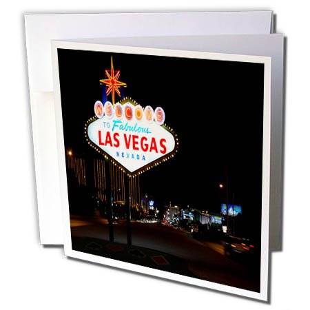3dRose TDSwhite – Miscellaneous Photography - Travel Vegas Sign Night - 12 Greeting Cards with Envelopes (gc_285370_2) by 3dRose