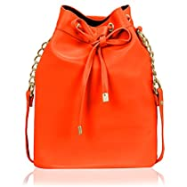 Kleio Womens Faux Leather Solid Colour Bucket Sling Bag E