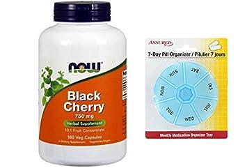 AHORA alimentos fruta de cereza negra 750 mg - 180 Veg cápsulas con gratis 7 días