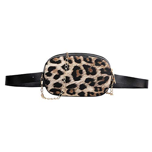 LiYao Snake Pattern Chain Shoulder Waist Bags Fanny Belt Packs Phone Pouch Women PU Leather Crossbody Casual Messenger Chest Bags (Color : Brown)