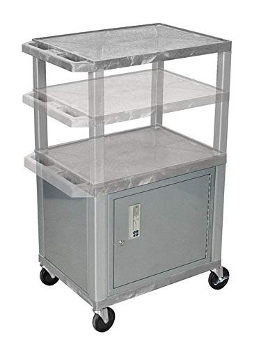 H.Wilson WT2642GYC4E-N Adjustable Height 3 Shelves Gray Audio Visual Presentation Tuffy Cart with Cabinet Nickel Legs