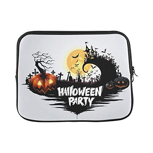Design Custom Halloween Pumpkins Dark Castle On Full Sleeve Soft Laptop Case Bag Pouch Skin for MacBook Air 11