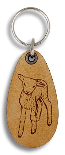 ForLeatherMore - Lamb - On the Farm - Genuine Leather Keychain - Gift