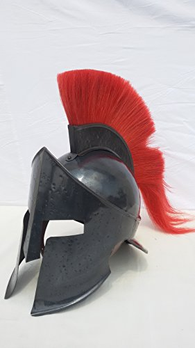 Medieval Spartan King Leonidas Halloween Helmet With Red Plume With Dispaly Stand -