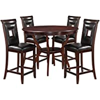 ACME Furniture 71599 Oswell 5 Piece Black PU & Cherry Counter Height Set