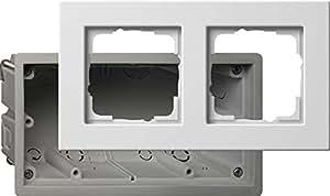 Gira 2882201 - Caja para enchufe y marco embellecedor (2 interruptores, E22), color blanco