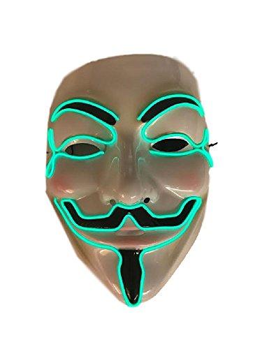 LED Costume Mask - V for Vendetta (Green) (V For Vendetta Masks)