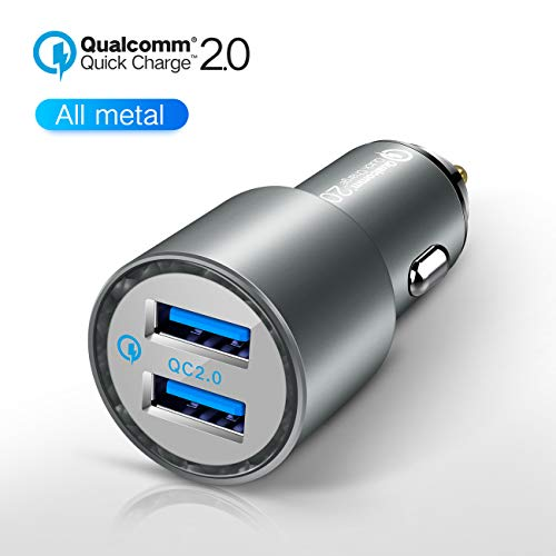 JDB 36W Cell Phone Car Charger, Qualcomm Quick Charge 2.0 Dual USB Fast Car Charger for Samsung Galaxy, iPhone Xs/X / 8/7 / 6s / 6 / SE / 5S with a 3ft Micro USB Cable