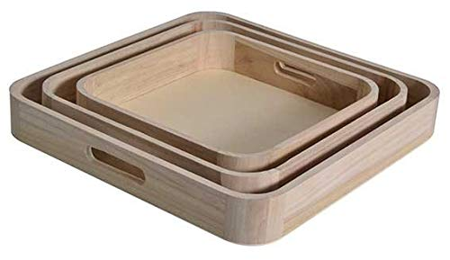 Set vassoi quadrati in legno grezzo 25 3 pezzi 35 cm 30