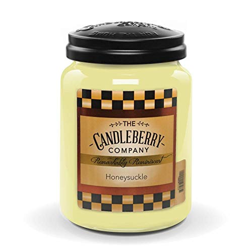 Honeysuckle Home Fragrance - Candleberry Honeysuckle, Premium Fine Fragrance Candle The Home, Large Glass Jar, 26 oz