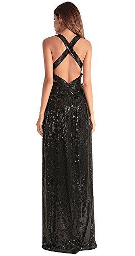 vestido FOLOBE de mujer Black lentejuelas la de noche de fiesta vestido wxUUTqC6I