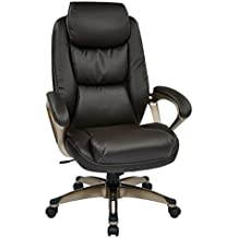 Office Star Executive Eco Leather Chair with Coil Spring Seat, Padded Arms, and Cocoa Coated Base, Espresso