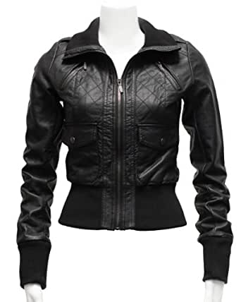 Ladies Black Synthetic Leather Zipper Jacket Cross Stitching