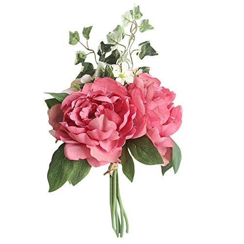 e Flower, Elevin(TM) A Bouquet Artificial Silk Fake Flowers Peony Floral Wedding Bouquet Bridal Hydrangea Decor (Hot Pink) ()